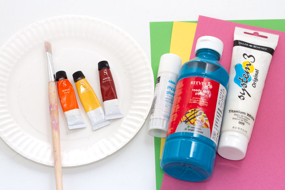 You will need: Paper plate Paint - blue, white, brown/yellow/orange Paint brush Coloured paper Glue Googly eyes (optional)