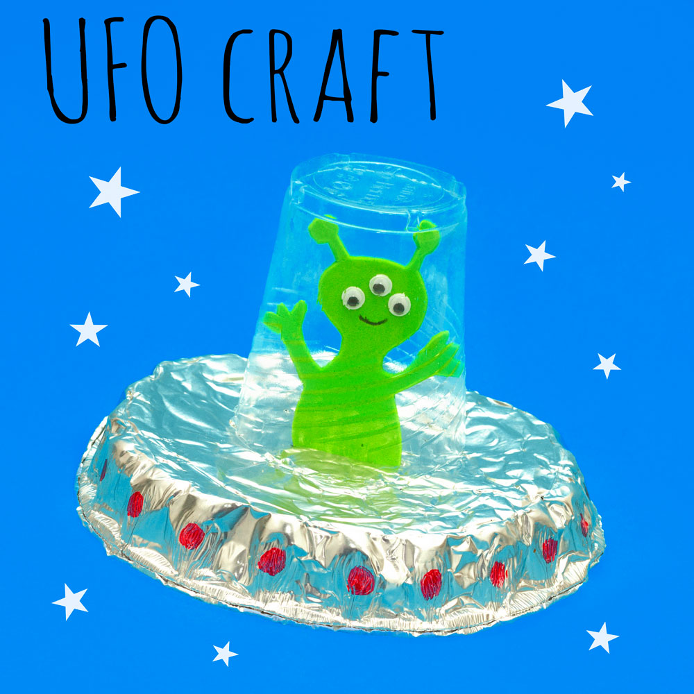 This is a great space themed craft for kids! They can make their own alien UFO by recycling a foil dish and a plastic cup.