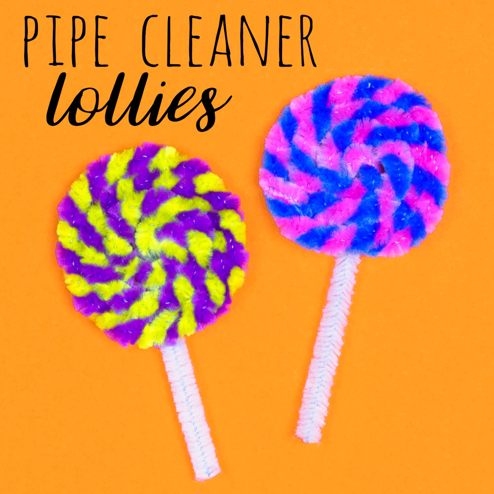 This pipe cleaner lolly pop craft is so simple, kids can make lots of their favourite sweets by twisting colourful pipe cleaners together!