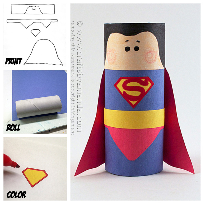 Make your own Superman out of a cardboard tube with this tutorial from  Crafts By Amanda .