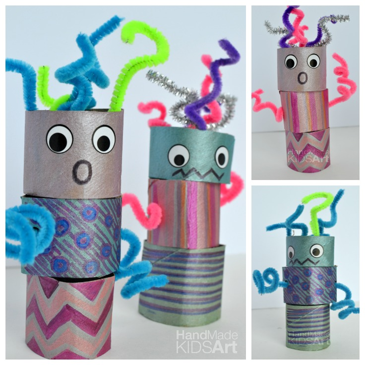 Make some fun mix and match robots out of paper tubes with this craft tutorial from  Handmade Kids Art .
