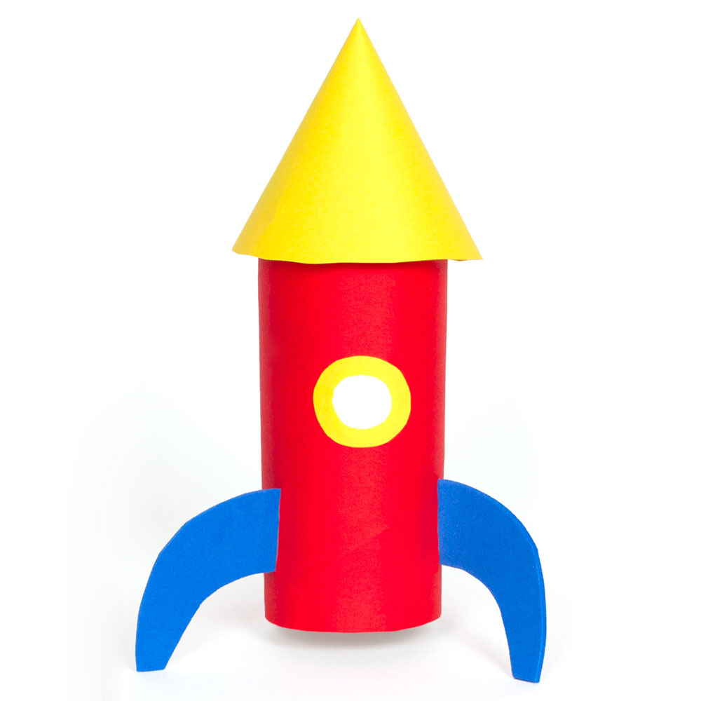 Kids will have fun making this cool space rocket out of a cardboard tube.