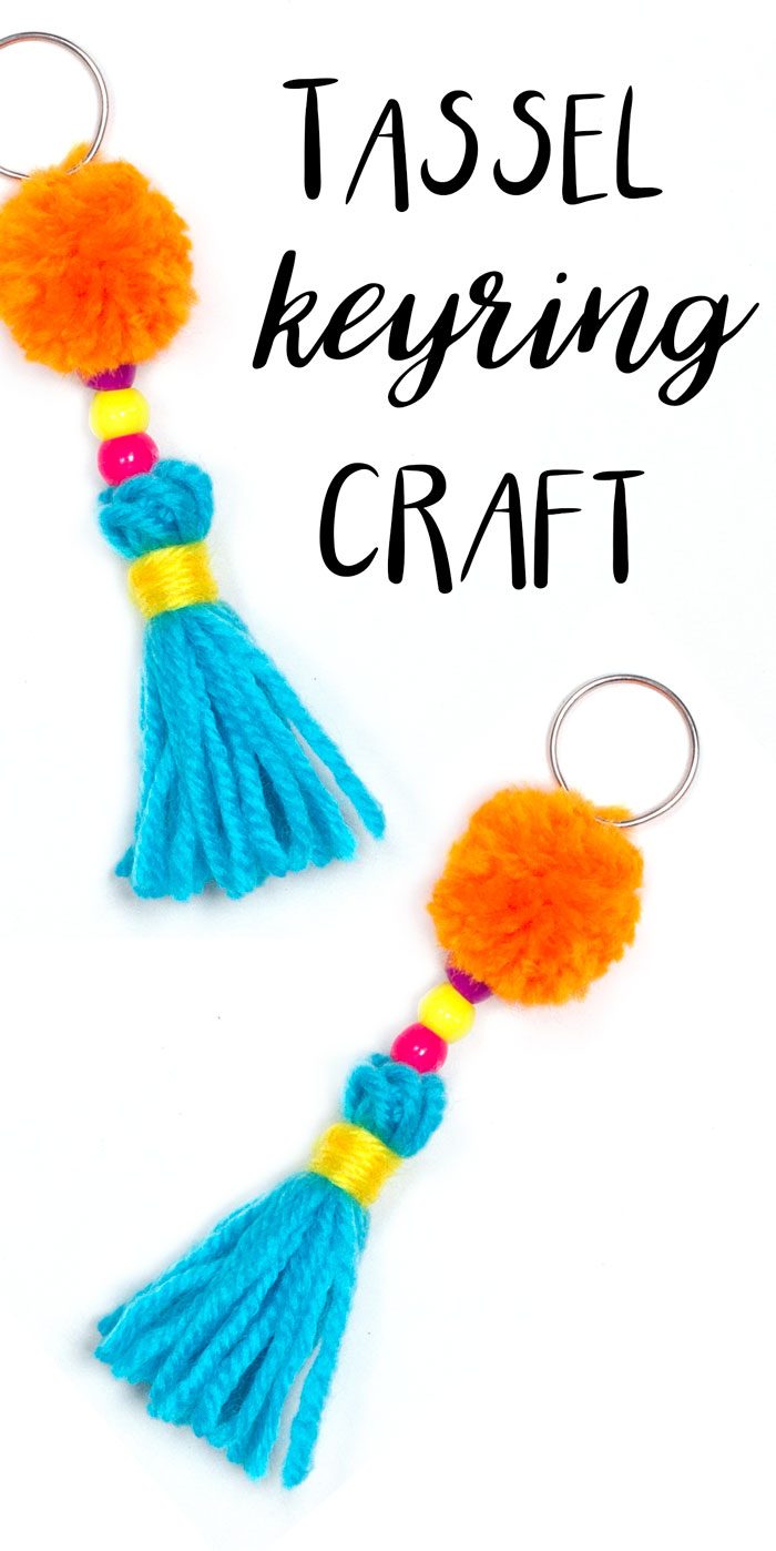 Make these funky colourful tassel keyrings with only a few materials. Kids will love making these, they could attach them to their school bags for decoration. Or you could make one for yourself!