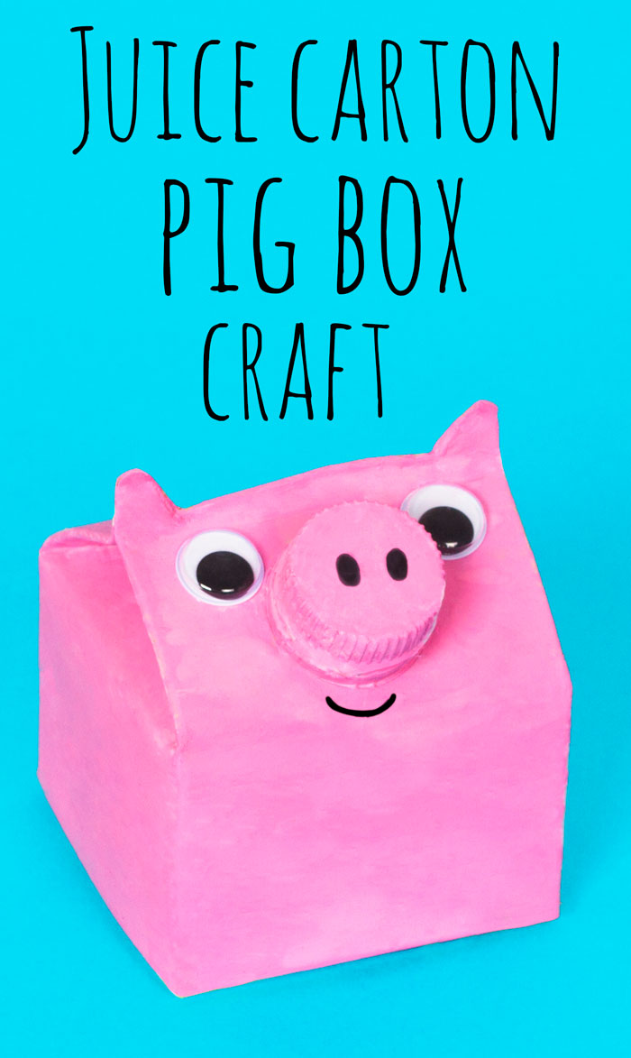 Kids can make their own pig box out of an old juice carton. This recycled craft can be used to keep small coins or keepsakes in, just undo the nose lid to open! You could try making different types of farmyard animals with the same idea.