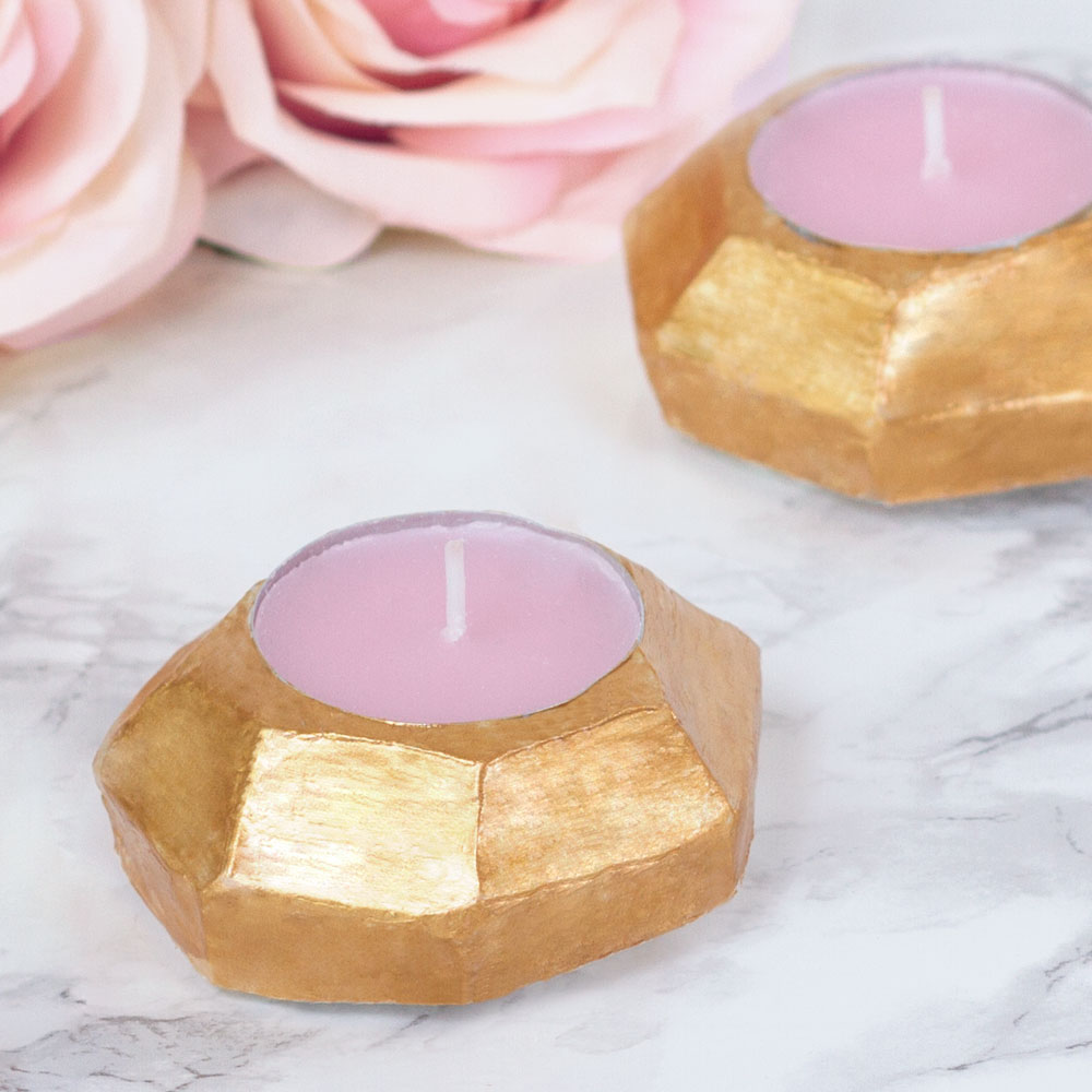 gold clay candle holder craft