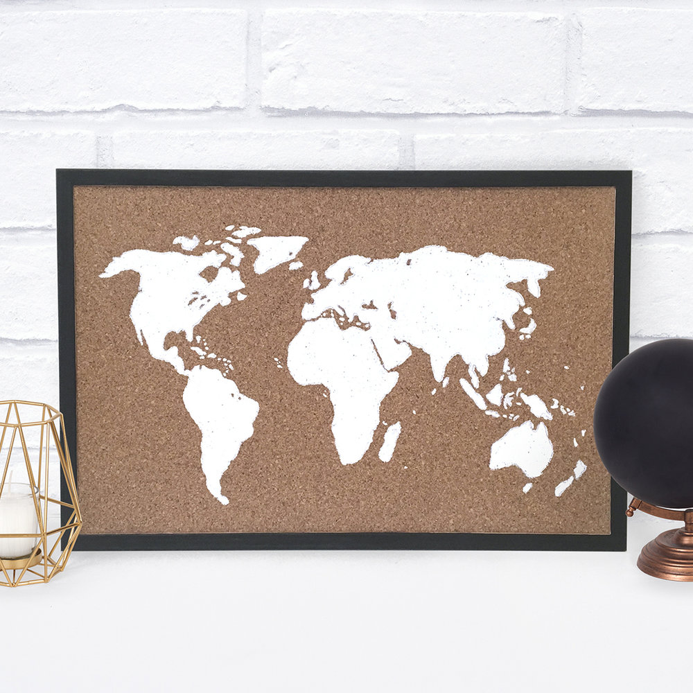 DIY Cork Board Map Doodle and Stitch