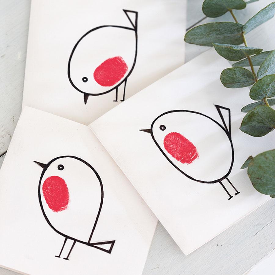 Fingerprint Robin Christmas Card Doodle And Stitch