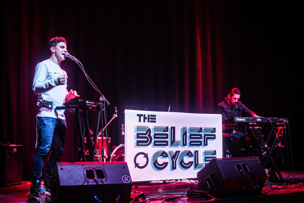 The Belief Cycle duo lineup: Drew Mantia - vocals and finger drums, Ryan Marquez - keys and foot pedal bass