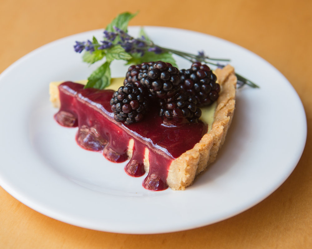 Everyday Angelica had two seasonal desserts offered along with seasonal cookies and parfaits. This one is a Blackberry Coconut Lavender tart.