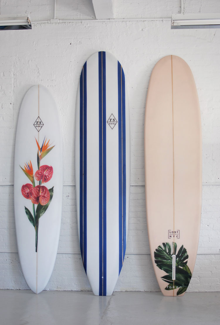 a Lost Weekend NYC + token collaboration for Lost Weekend's Tokyo pop up shop.  From left to right:  7'10 / 9'2 / 9'0