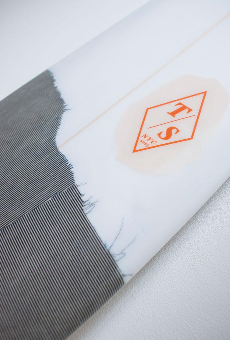 custom denim inlay for 3x1's South Hampton NY location  7'10 single fin with selvedge denim