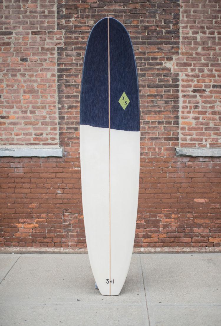custom denim inlay for 3x1's South Hampton NY location  9'1 single fin with selvedge denim  Photo by Zach Hilty