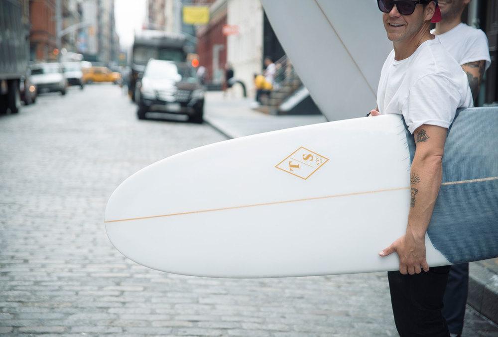 custom denim inlay for 3x1's South Hampton NY location  6'5 single fin with selvedge denim  Photo by Zach Hilty