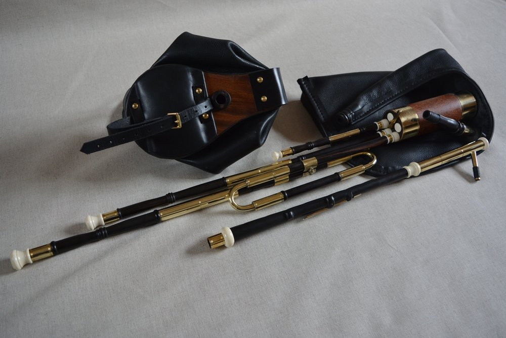 A recently finished half set of uilleann pipes. They have a lovely warm, mellow and crisp tone. Perfect for playing at home without disturbing family and neighbours. Sound clips below !