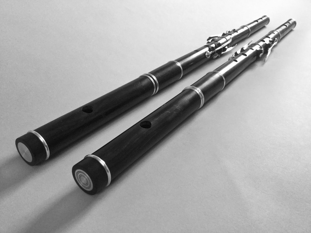 Concert pitch Wooden flutes with Sterling silver.