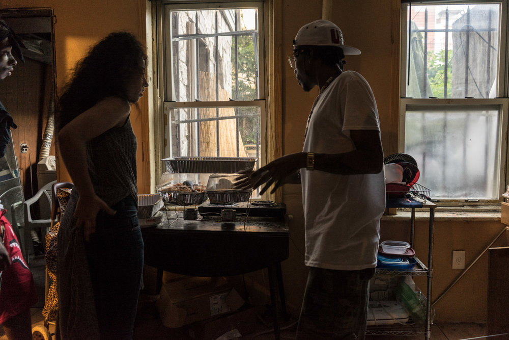 Leila and Rain prepare food for a battle event at the Slaughterhouse.  The Slaughterhouse is the name given to the house where youth from all over New York City and New Jersey meet to dance Bruk Up.