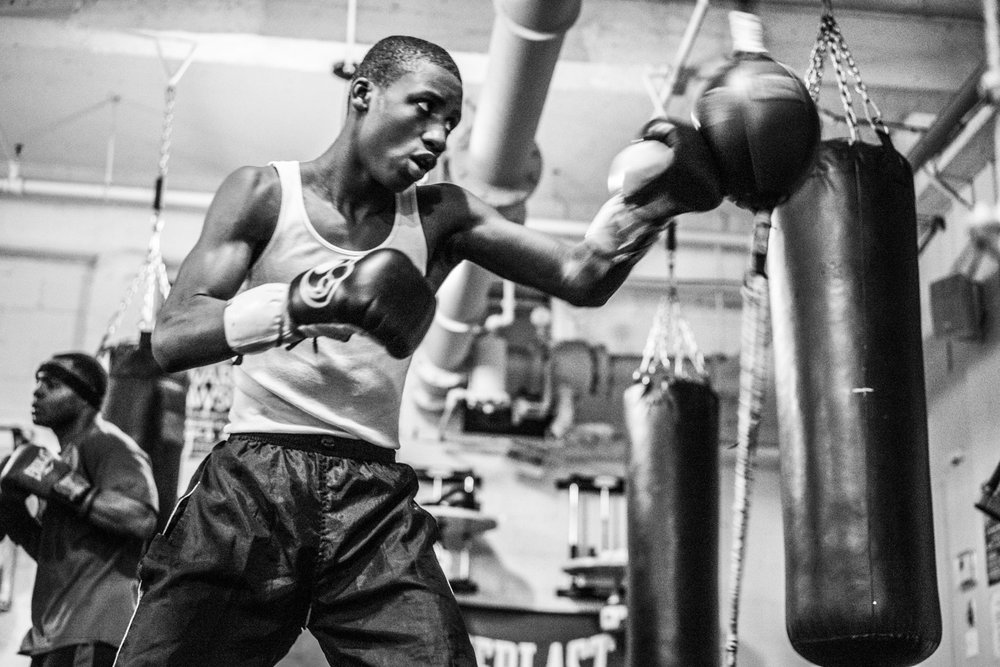 """I want to be the best fighter I can be.""  Shu Shu training in the boxing gym near his home in Brownsville, Brooklyn."