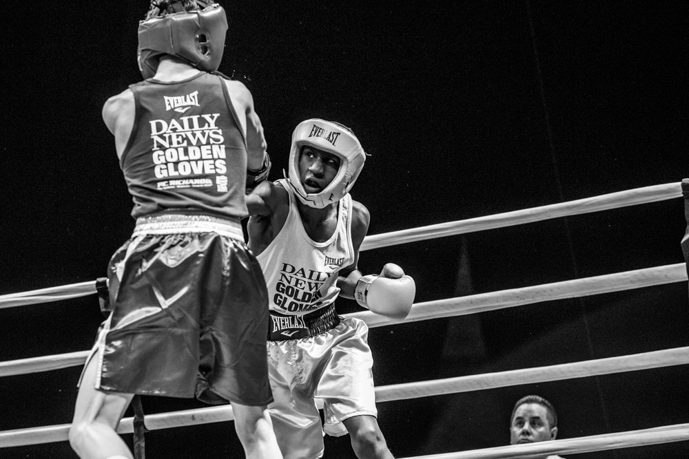 Shu Shu goes on the offensive in the Golden Gloves Final at the Barclays Center, Brooklyn. Hoping to qualify for the next Olympics team, winning here would put Shu Shu in an excellent position for qualification.