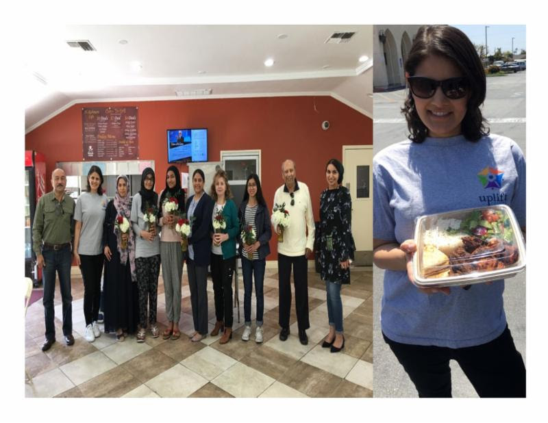 Tutoring team with 2 Uplift staff members (left) and    Tutor Program lead displaying the catered lunch from Doner G (right).