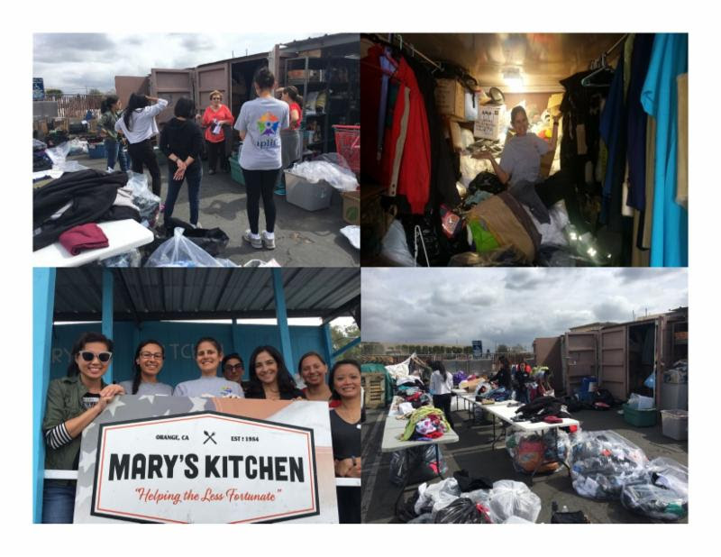 Contributing supplies and    volunteer hours at Mary's Kitchen.
