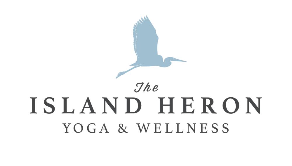 The Island Heron yoga studio logo