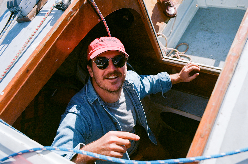 Cleveland Motley / Sailing in his restored Trimaran.