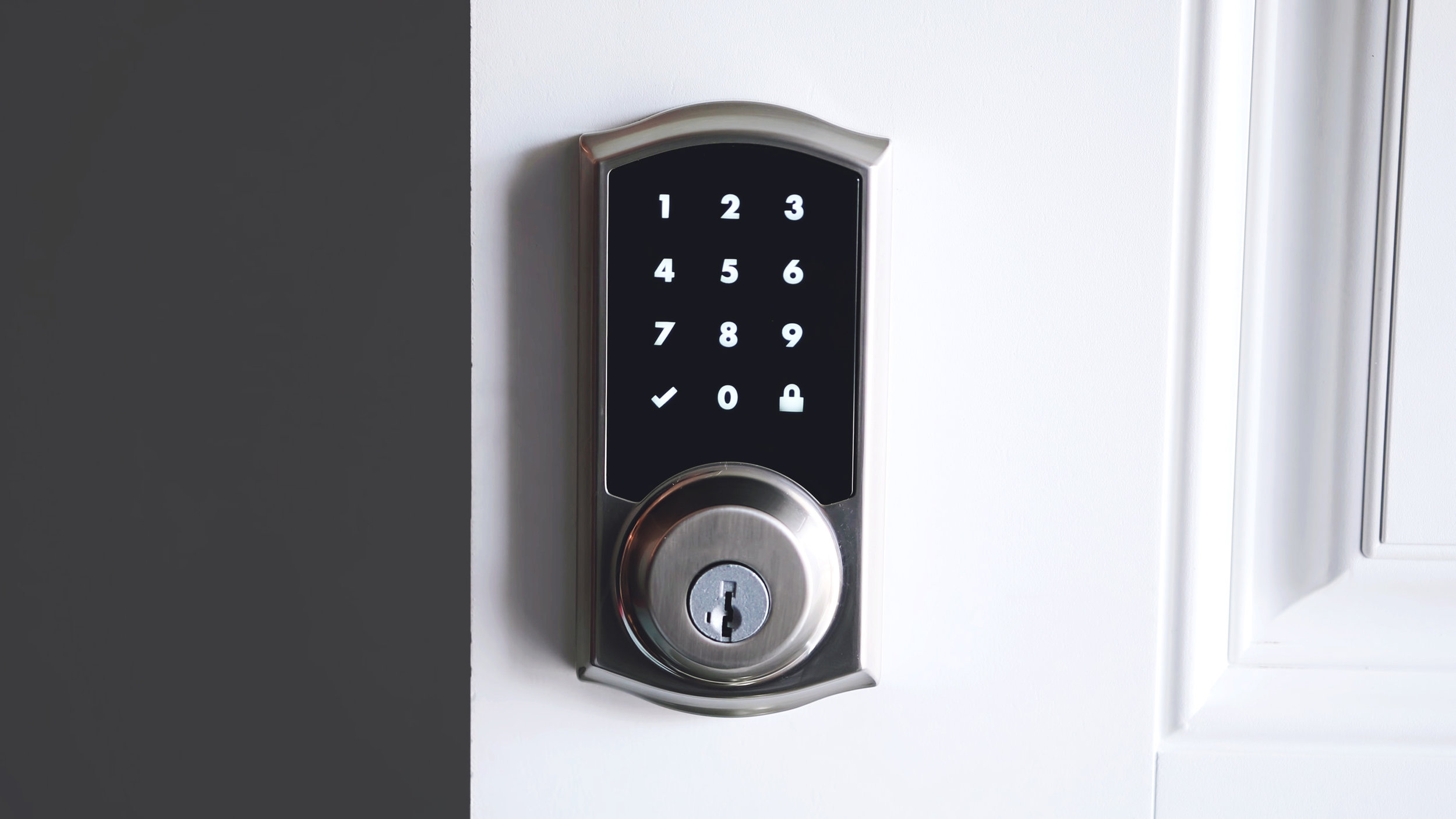 Electronic Keyless Entry by Password Code Bluetooth Digital Lock Levers Black Keyless Smart Lever Door Lock Touchscreen Digital Code Entry Security Safety Lever with Backup Keys