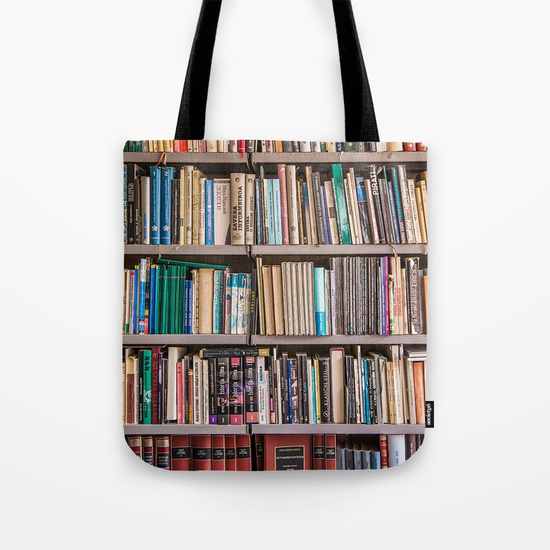 - Shelve it: Society6 offers a variety of book themed bags for your groceries, books, or gym gear. $21https://society6.com/bags/shelf