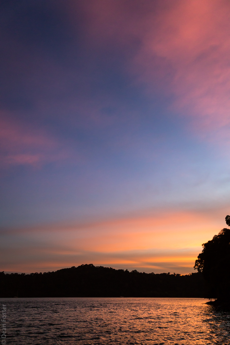A gorgeous sunset taken from a small boat off the coast of Langkawi Island, Malaysia