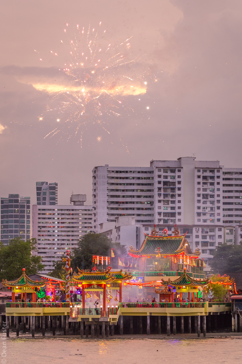 Fireworks set off from one of the jetties as Chinese New Year celebrations come to a close