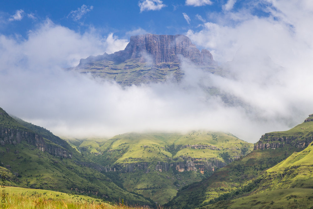 #4 - Late morning clouds blow past Champagne Castle, Central Drakensberg, South Africa
