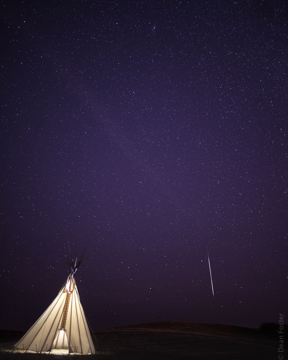 #9 - A shooting star streaks across the sky during the Geminid meteor shower. Ann and Sandy Cross Conservation Area, near Calgary, Alberta, Canada