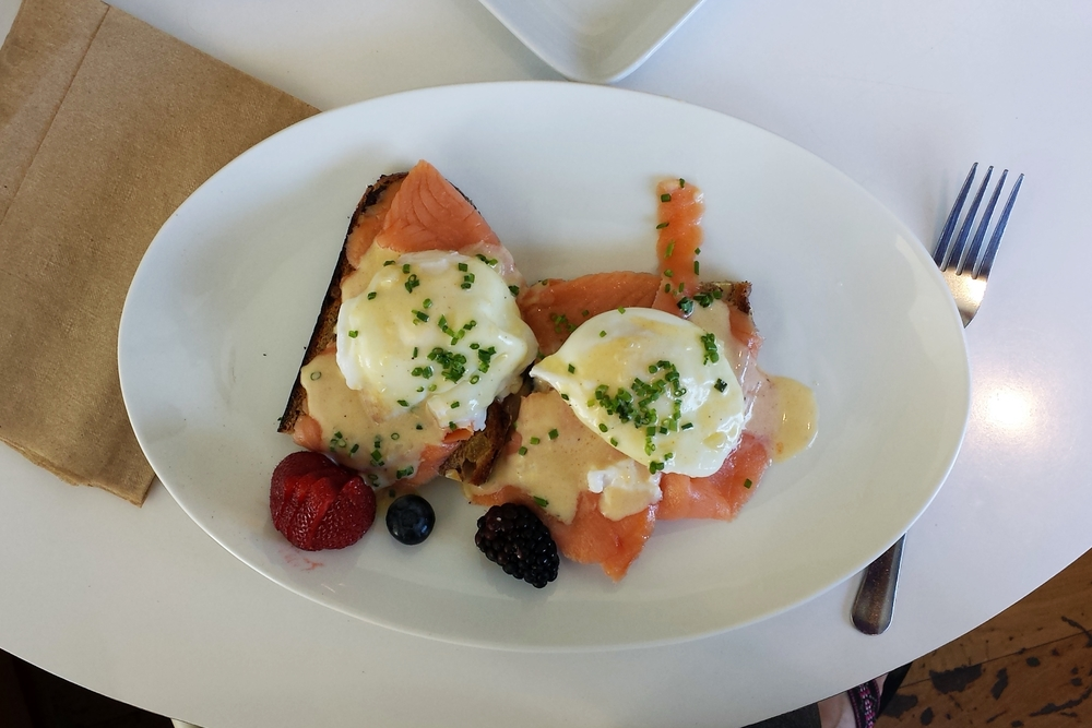 Eggs Benedict with smoked salmon.