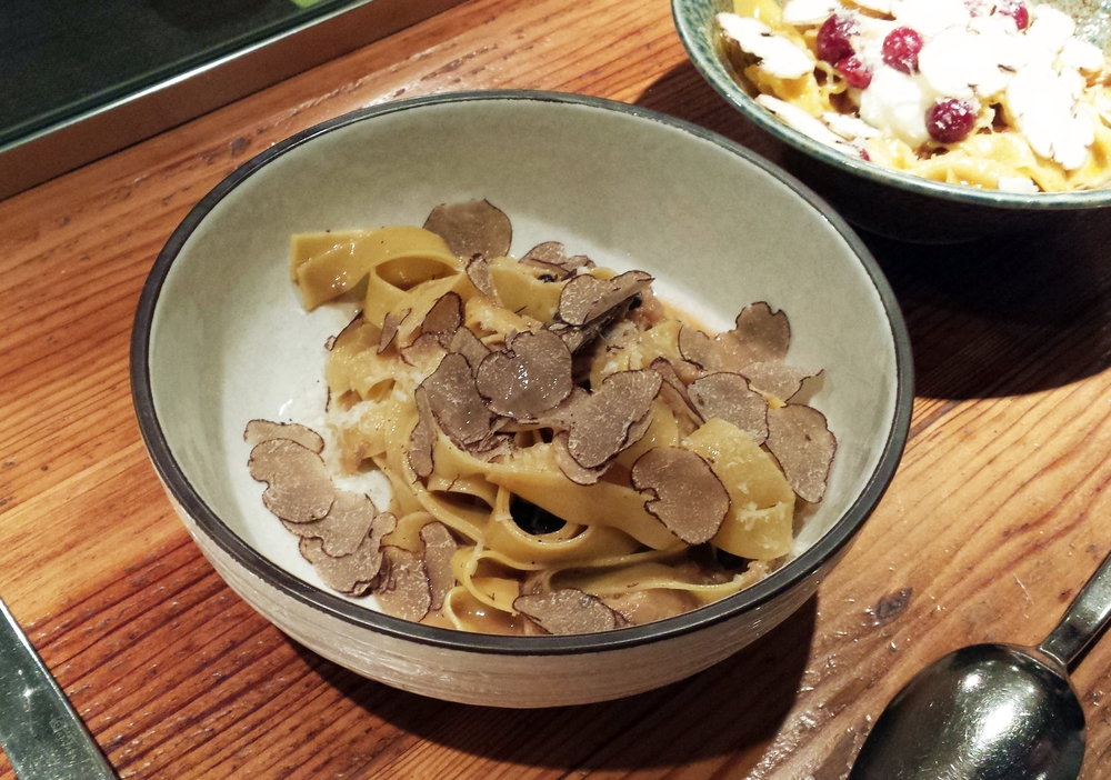 Pasta with shredded pork and shaved truffles