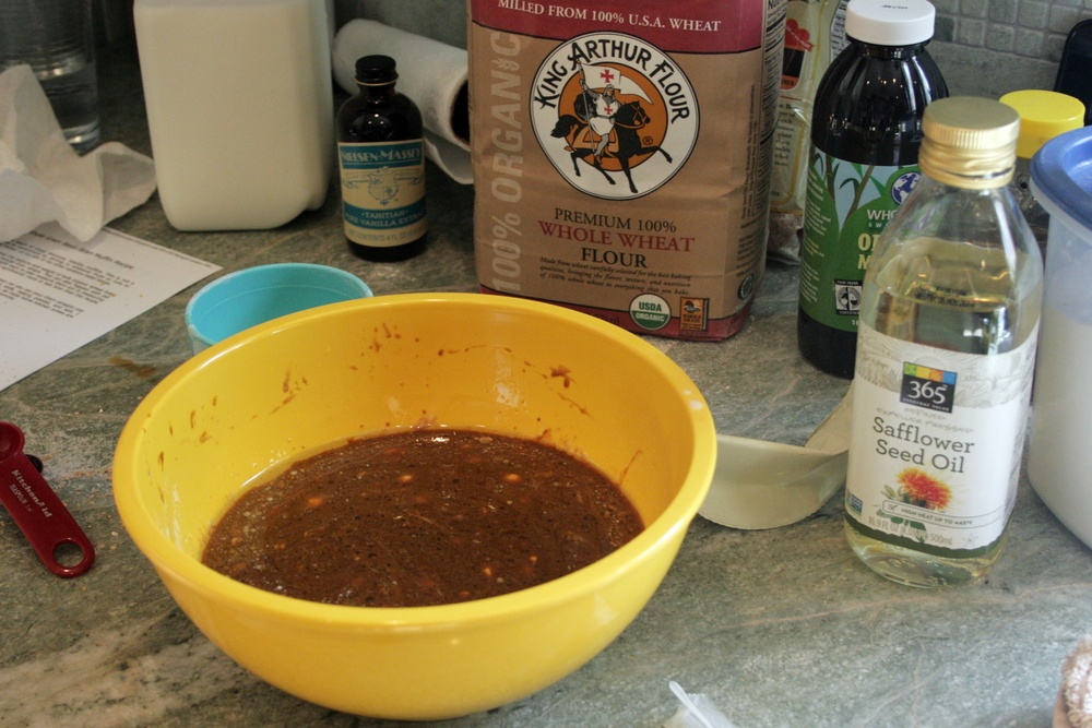 wet ingredients for baking sustainable bran muffins