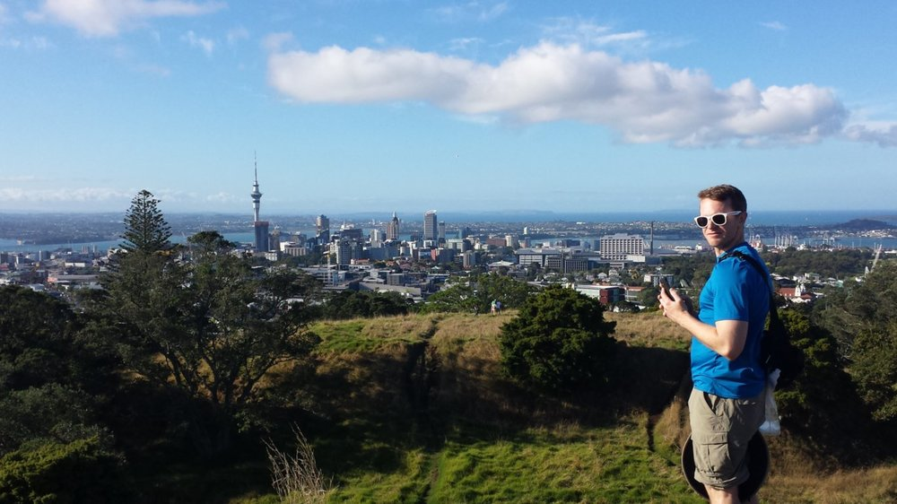 The view of Auckland from the top of Mt. Eden
