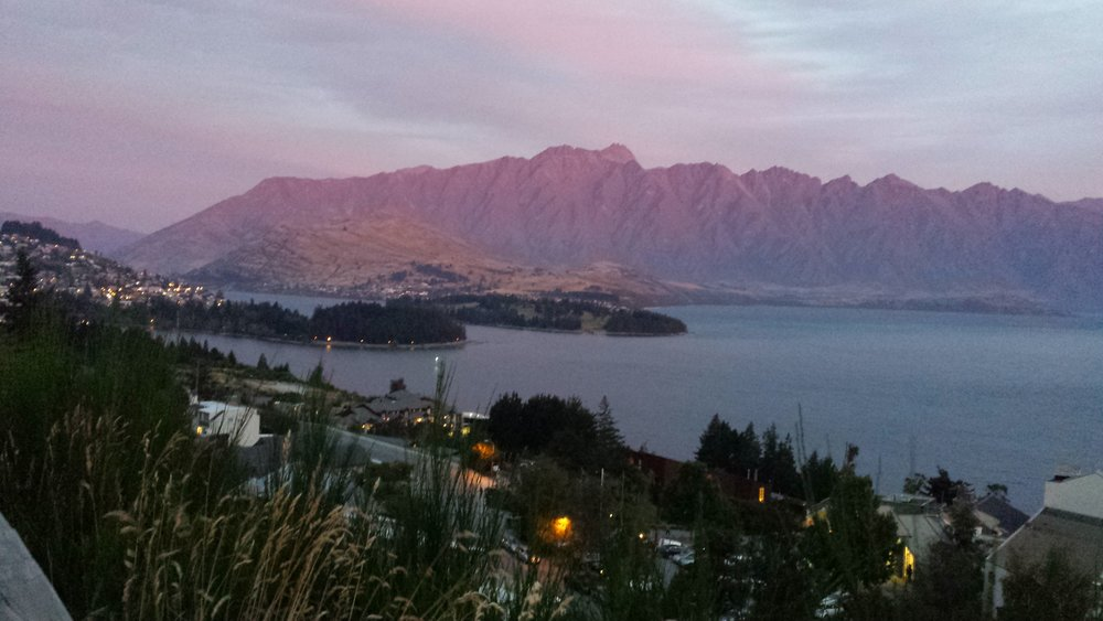 Queenstown at sunset.