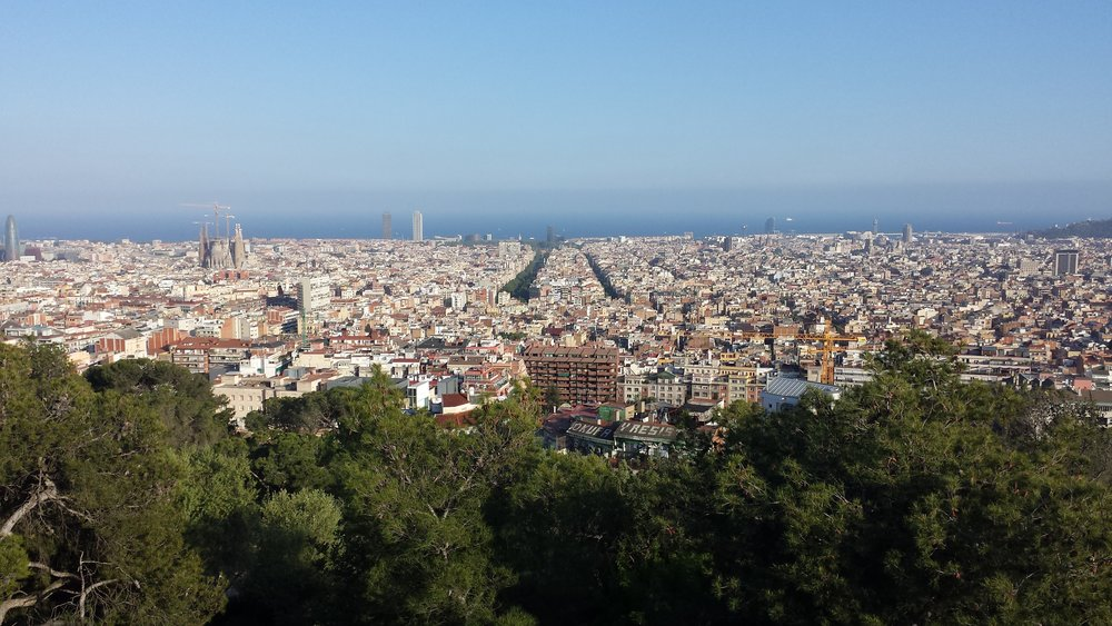 The view of Barcelona from the top of Park Guell.
