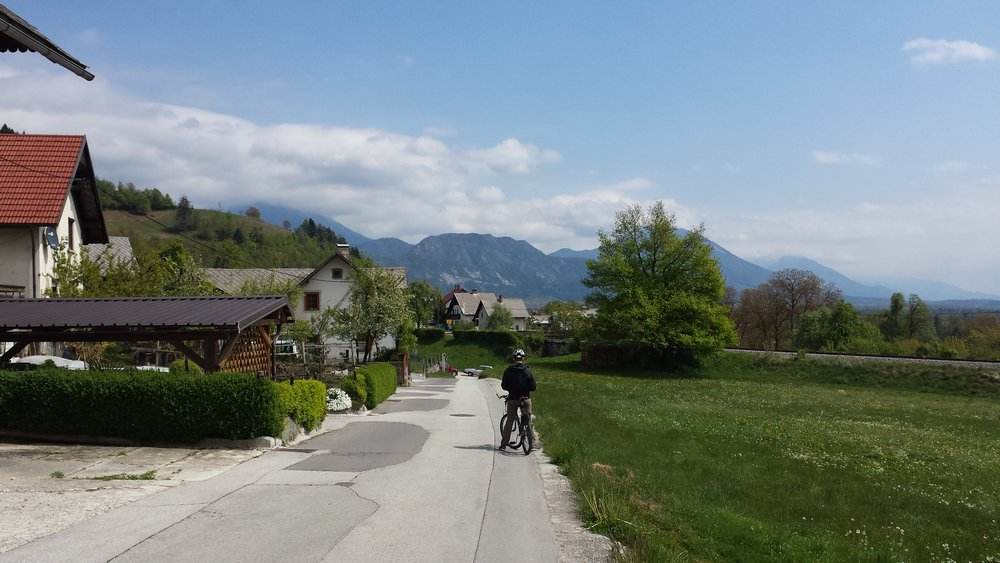 Biking through a Slovenian neighborhood.