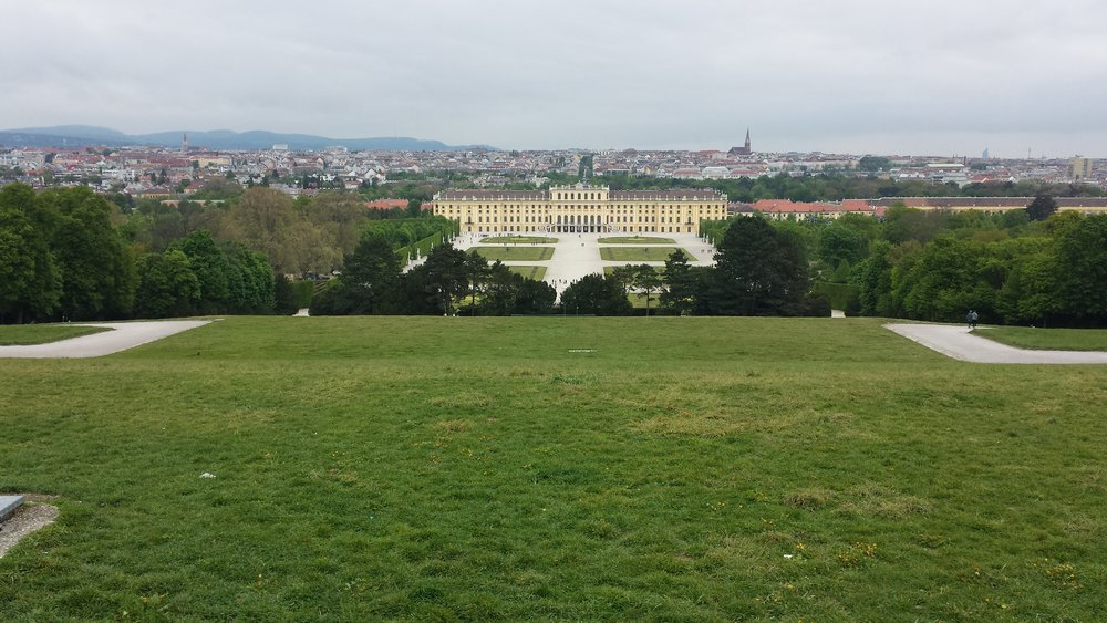 The beautiful Schonbrunn Palace in Vienna.