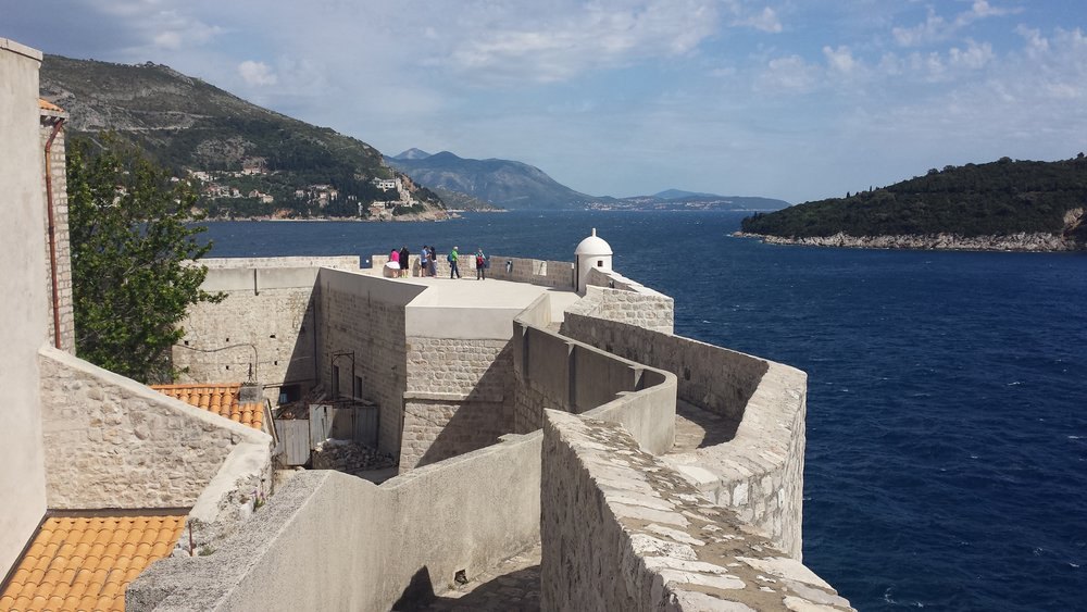 Walking the city walls in Dubrovnik.