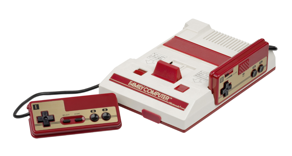 Famicom console released in 1983, Japan. Photo by Evan-Amos.