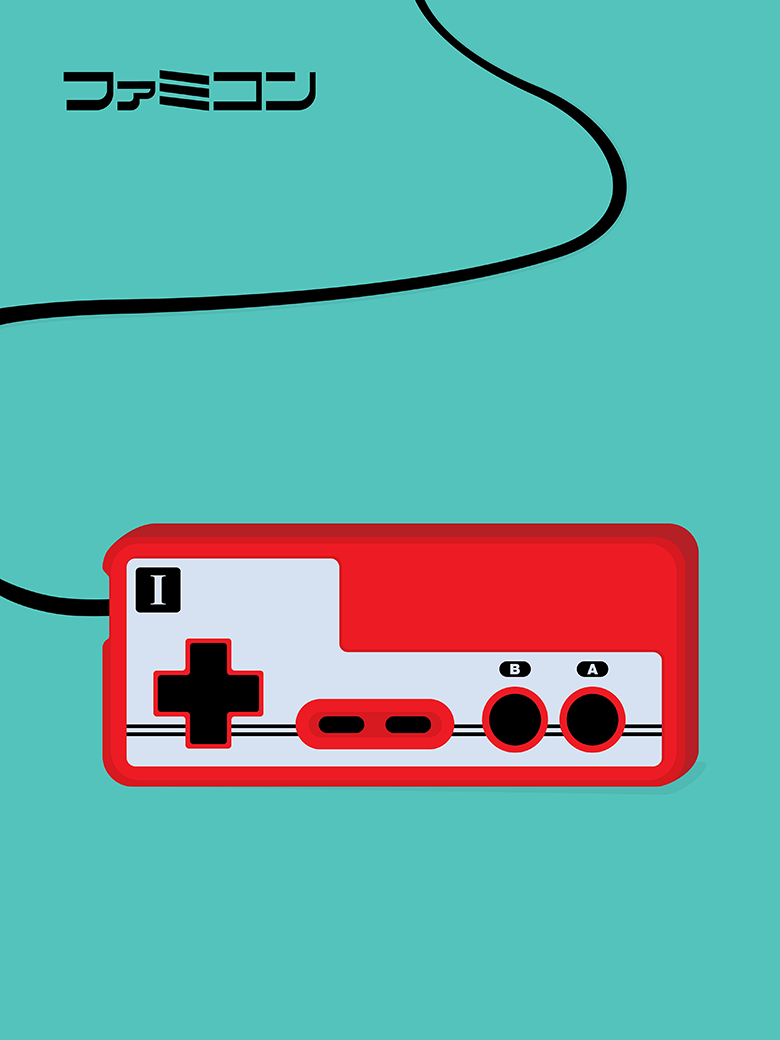 Japanese Famicom Controller Pop Art Print