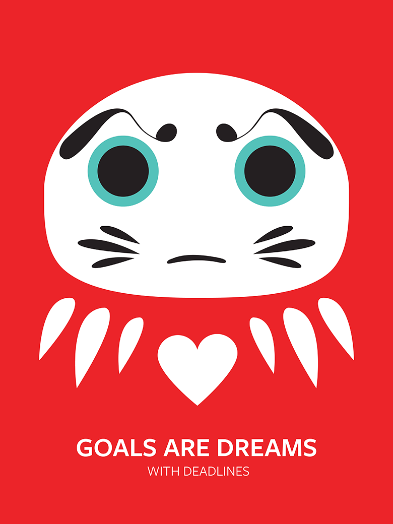 Japanese Daruma Pop Art Quote Print
