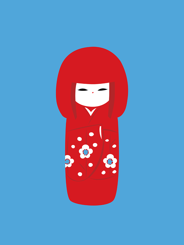 Kokeshi Doll Pop Art Print