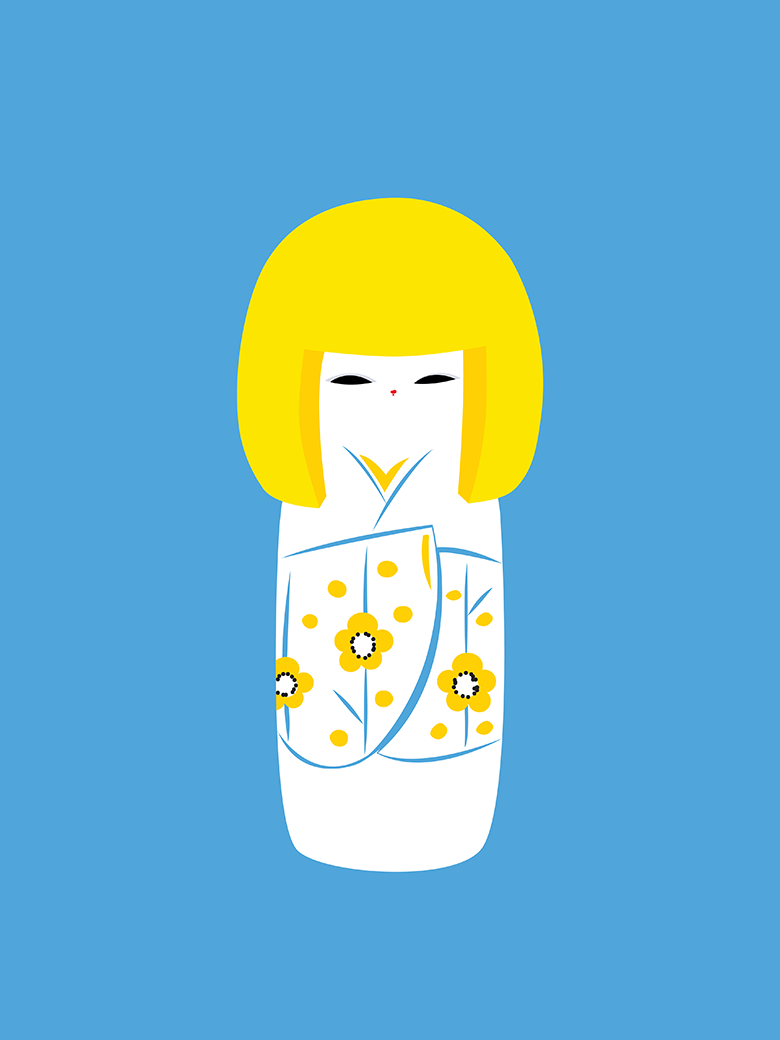 Japanese Kokeshi Doll Pop Art Print