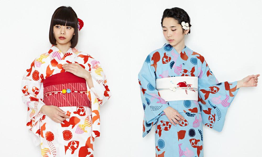 Kingyo print yukata (summer kimono) from Furifu (ふりふ)