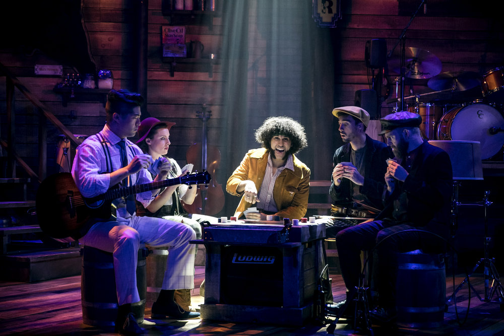 David Park, Natalie Storrs, Michael Viruet, Brian Russell Carey, and Michael McCoy Reilly in RED ROSES GREEN, GOLD at the Minetta Lane Theatre - photo by Chad Batka.jpg