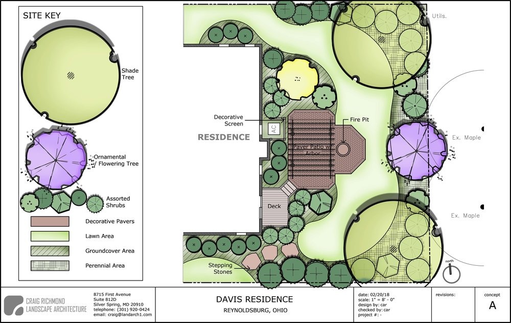 Single Family Residence-Rear Yard Concept #1, Columbus, OH  The client wanted a deck and patio, with fire pit. Privacy screening was the most important issue for them.  The concept illustrates a small rectangular deck connecting to a brick patio with a pergola.