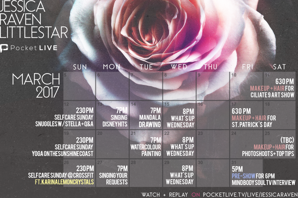 march-livestream-schedule-pocketlive-tv-jessica-raven-littlestar